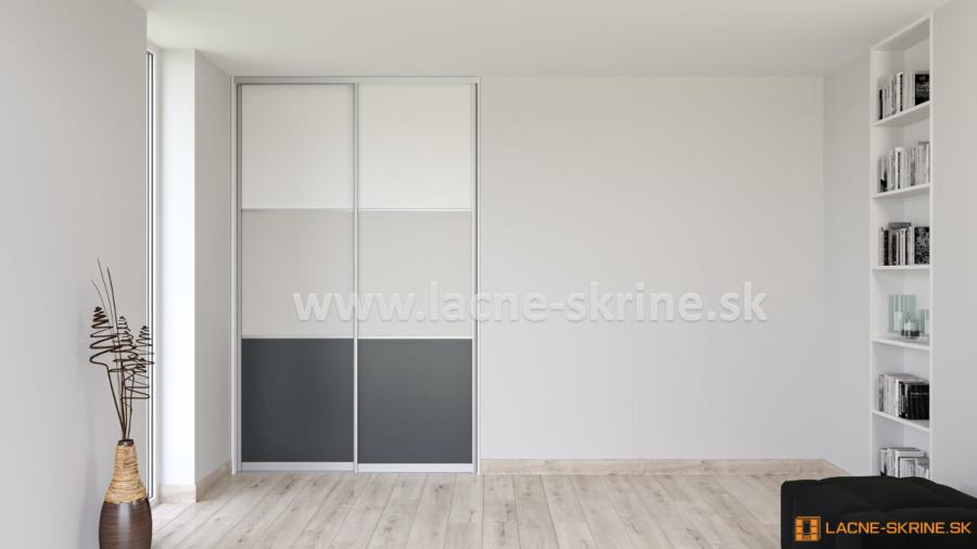 Vstavaná skriňa dvojdverová, 3x delené dvere