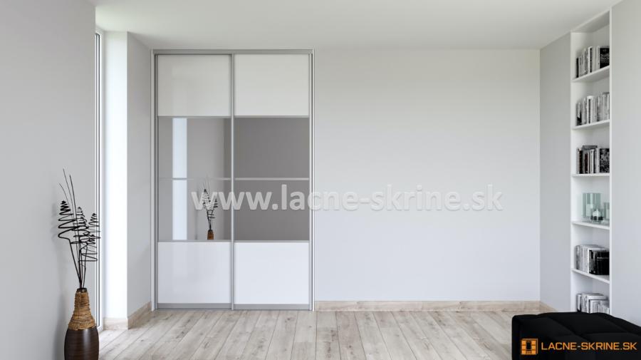 Vstavaná skriňa dvojdverová, delené dvere 4x