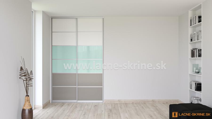 Vstavaná skriňa dvojdverová, delené dvere 6x