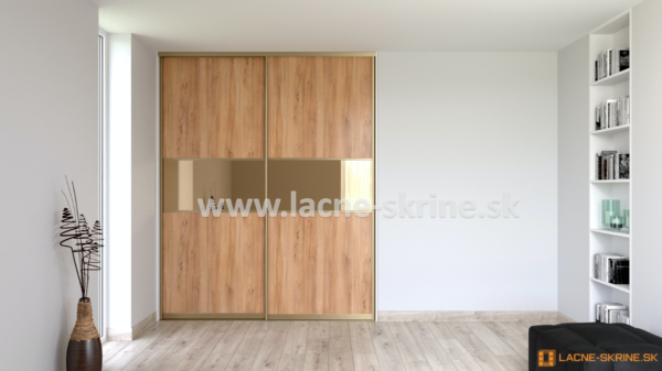 Vstavaná skriňa dvojdverová 3x delené dvere Pacifik prírodný, zrkadlo bronzové