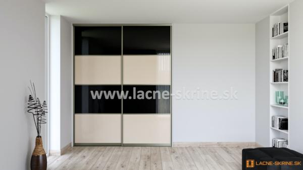 Vstavaná skriňa dvojdverová 4x delené dvere Lacobel čierny, Lacobel Cappuccino