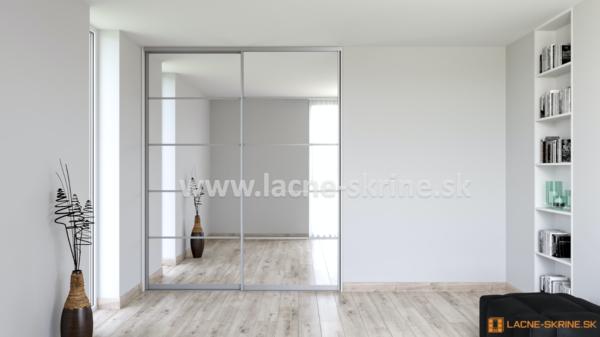 Vstavaná skriňa dvojdverová 5x delené dvere zrkadlo číre
