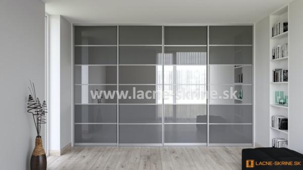 Vstavaná skriňa štvordverová 6x delené dvere Lacobel šedý, zrkadlo grafit
